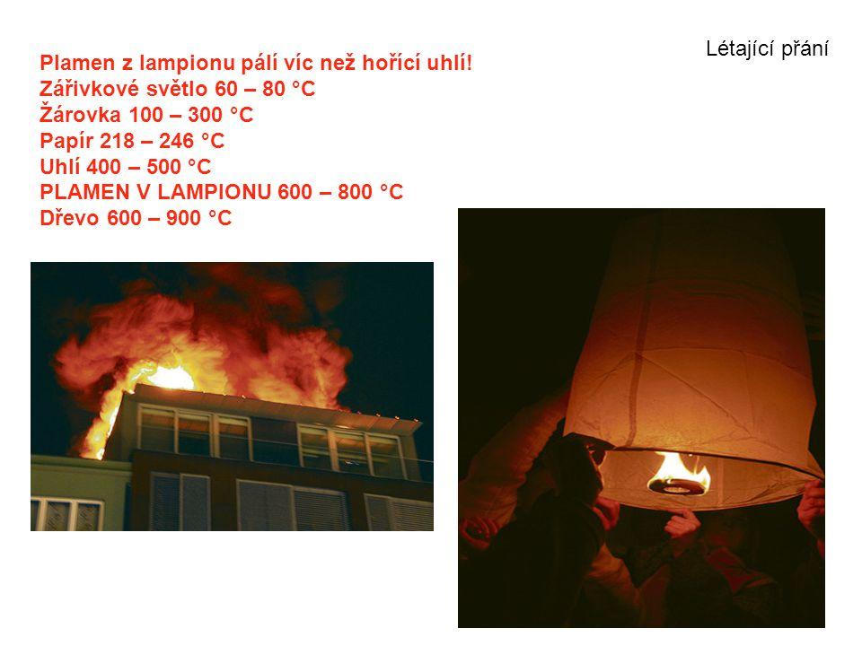 Létající přání Plamen z lampionu pálí víc než hořící uhlí! Zářivkové světlo 60 – 80 °C. Žárovka 100 – 300 °C.