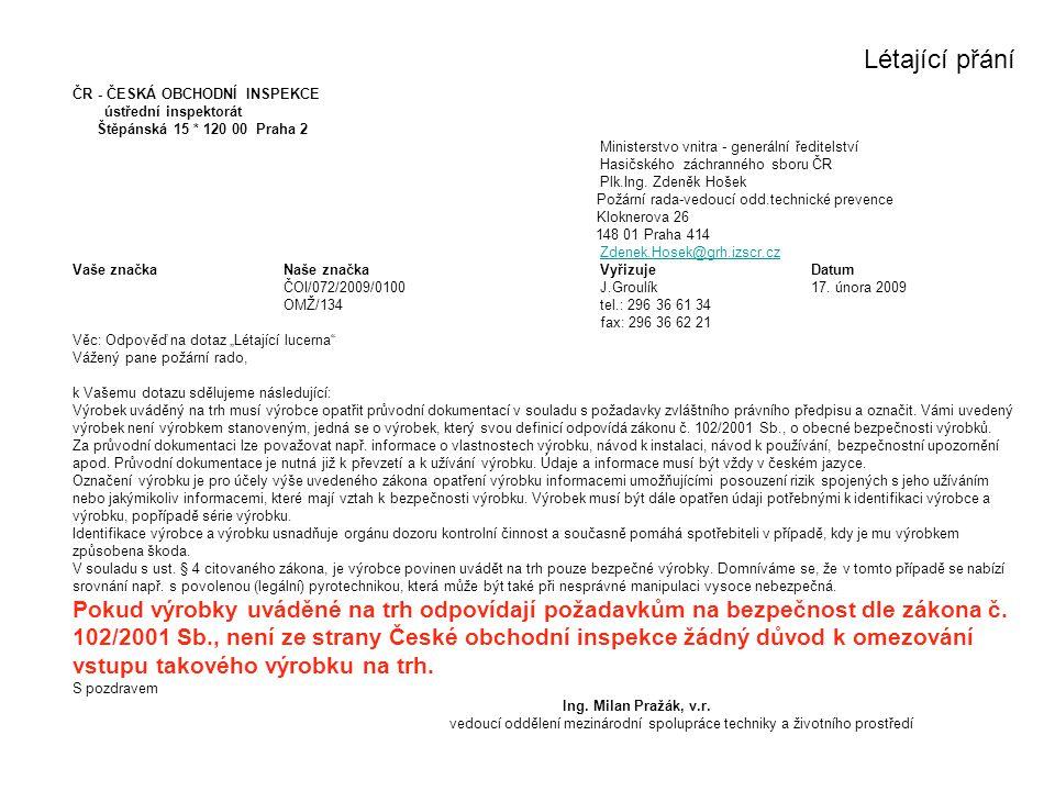 Létající přání ČR - ČESKÁ OBCHODNÍ INSPEKCE. ústřední inspektorát. Štěpánská 15 * 120 00 Praha 2.
