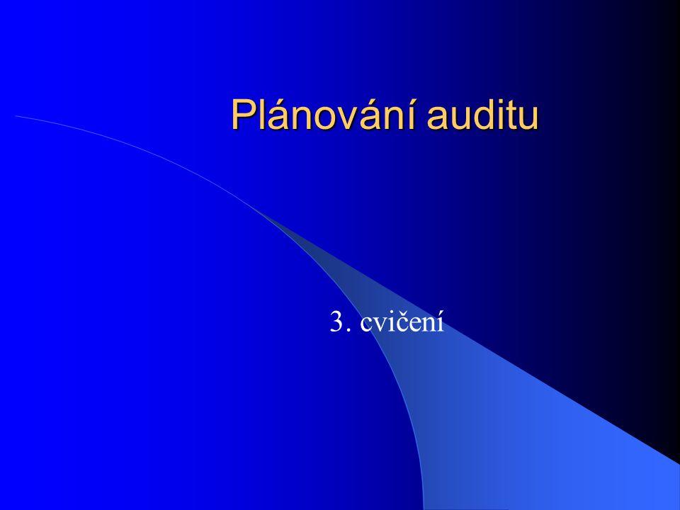 Plánování auditu 3. cvičení