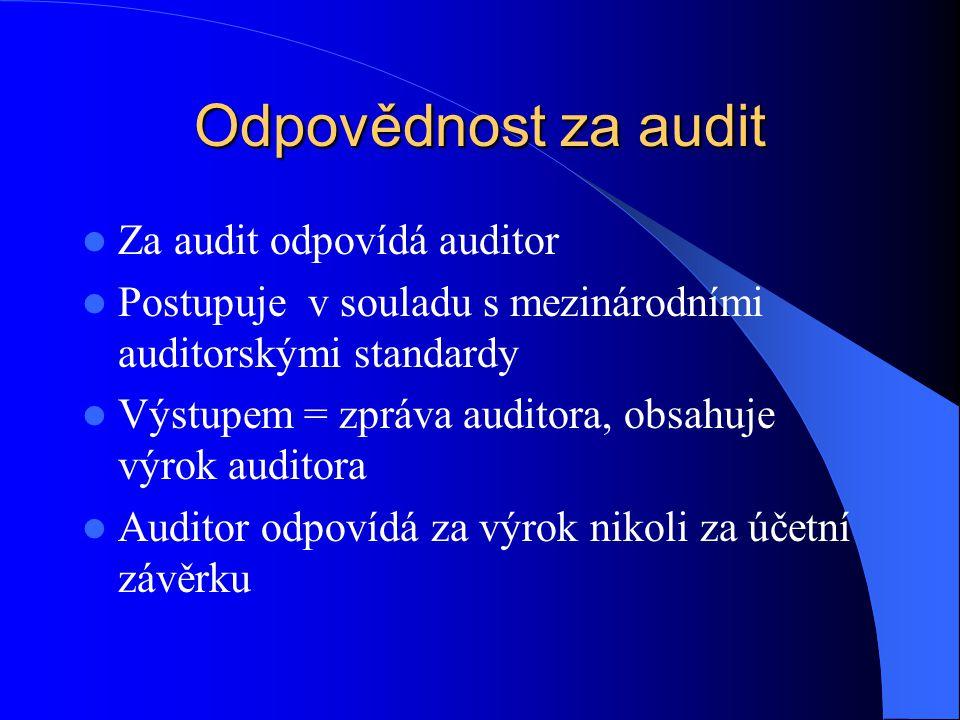 Odpovědnost za audit Za audit odpovídá auditor