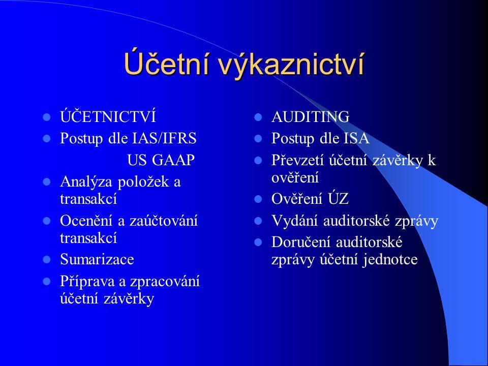 Účetní výkaznictví ÚČETNICTVÍ Postup dle IAS/IFRS US GAAP