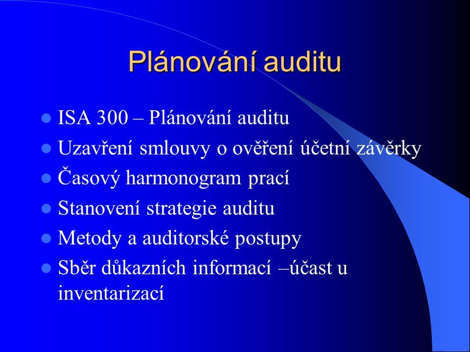 Plánování auditu ISA 300 – Plánování auditu