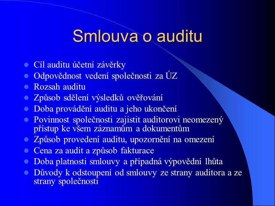 Smlouva o auditu Cíl auditu účetní závěrky