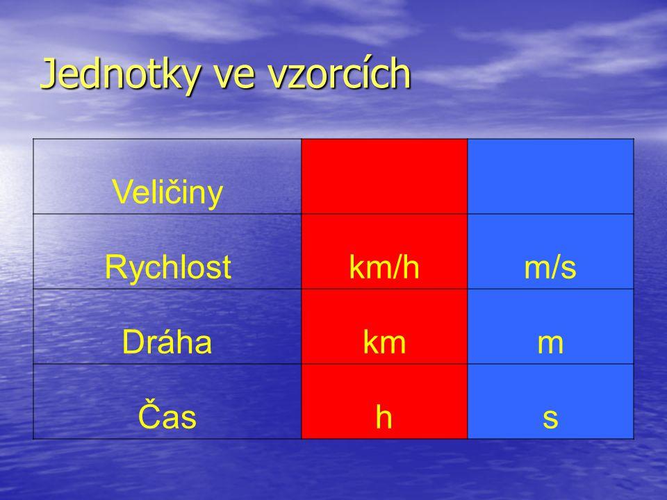 Jednotky ve vzorcích Veličiny Rychlost km/h m/s Dráha km m Čas h s