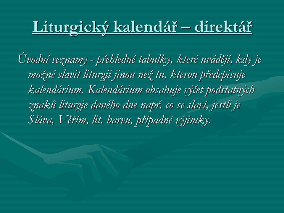 Liturgický kalendář – direktář