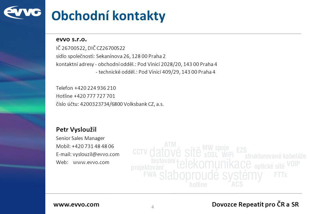 Obchodní kontakty evvo s.r.o. Petr Vysloužil