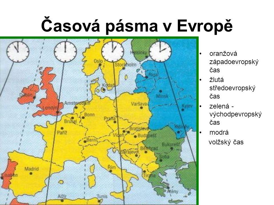 Časová pásma v Evropě oranžová západoevropský čas