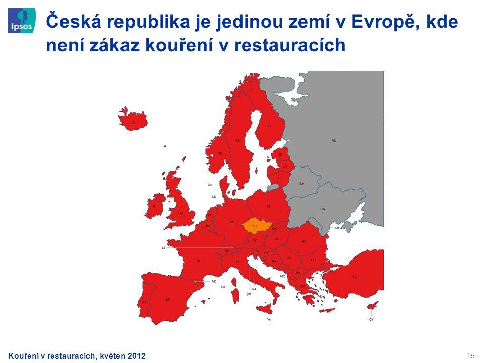 Česká republika je jedinou zemí v Evropě, kde není zákaz kouření v restauracích