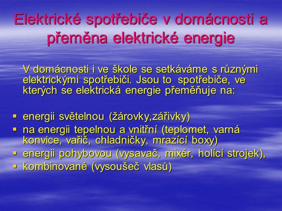 Elektrické spotřebiče v domácnosti a přeměna elektrické energie