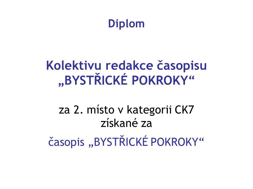 """Kolektivu redakce časopisu """"BYSTŘICKÉ POKROKY"""