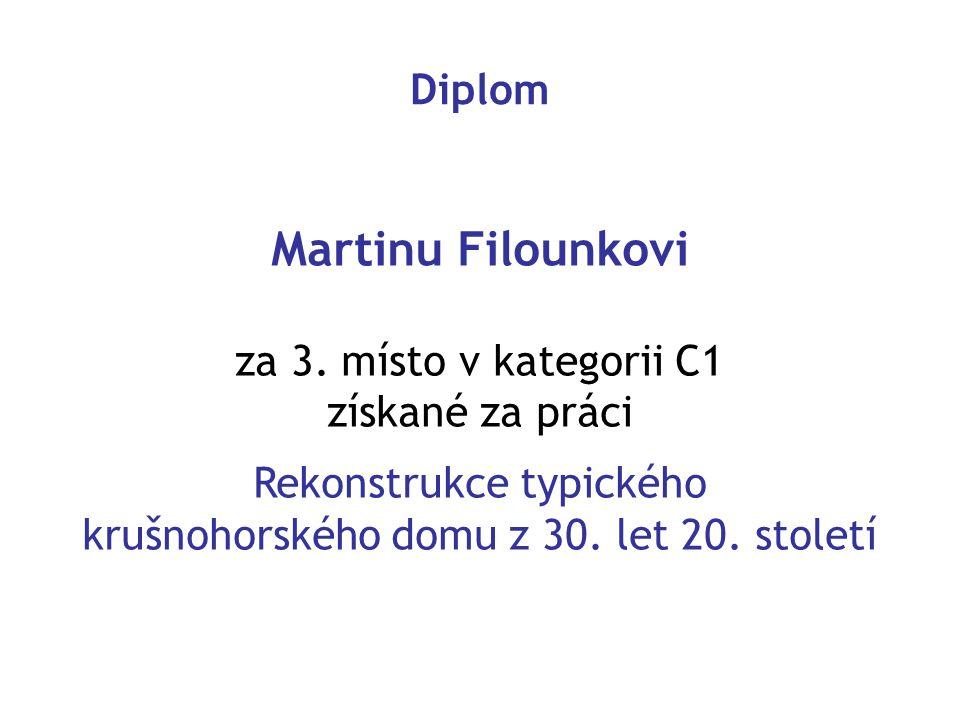 Martinu Filounkovi Diplom za 3. místo v kategorii C1 získané za práci