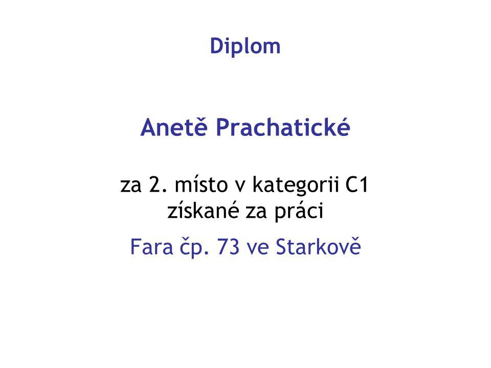 Anetě Prachatické Diplom za 2. místo v kategorii C1 získané za práci