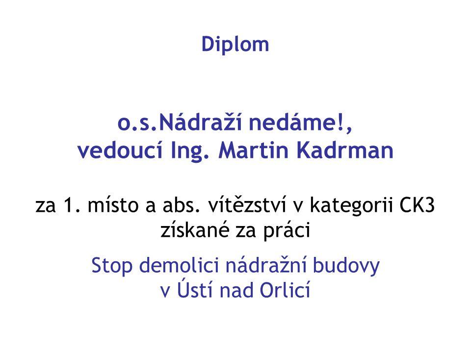 o.s.Nádraží nedáme!, vedoucí Ing. Martin Kadrman