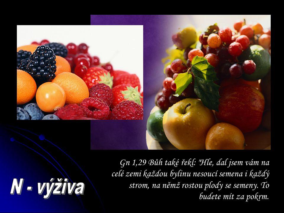 Gn 1,29 Bůh také řekl: Hle, dal jsem vám na celé zemi každou bylinu nesoucí semena i každý strom, na němž rostou plody se semeny. To budete mít za pokrm.