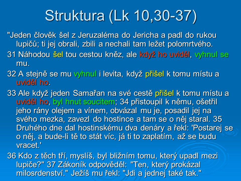 Struktura (Lk 10,30-37) Jeden člověk šel z Jeruzaléma do Jericha a padl do rukou lupičů; ti jej obrali, zbili a nechali tam ležet polomrtvého.