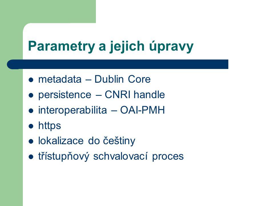Parametry a jejich úpravy