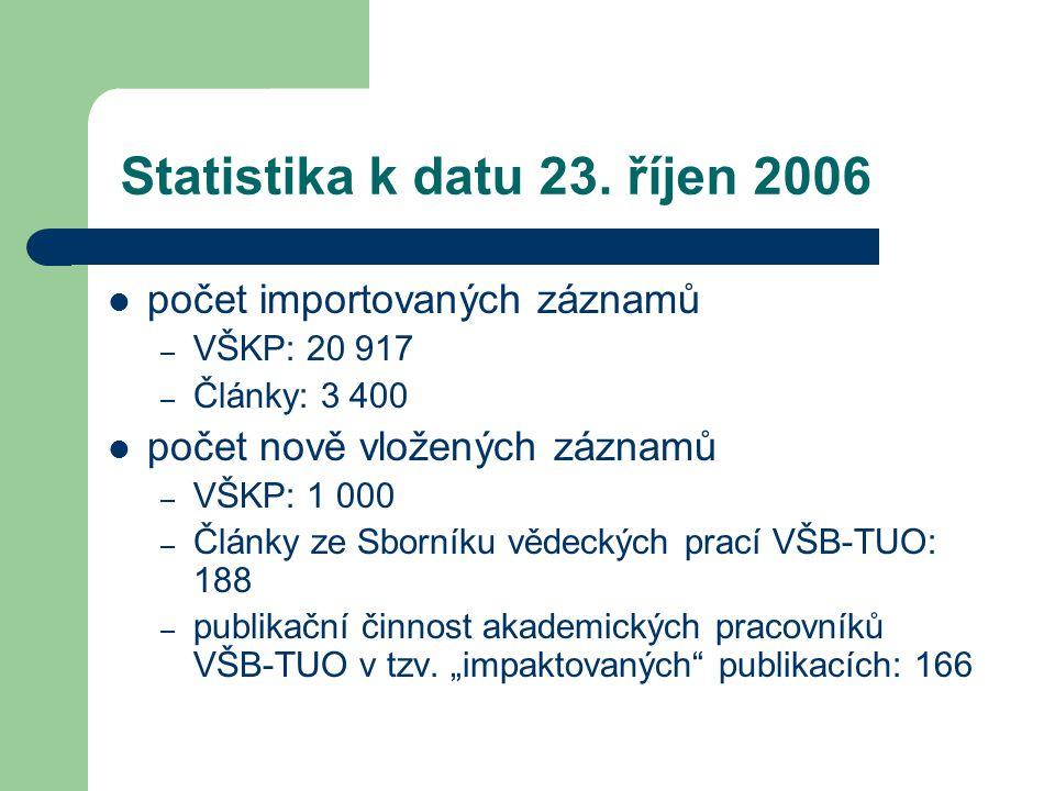 Statistika k datu 23. říjen 2006