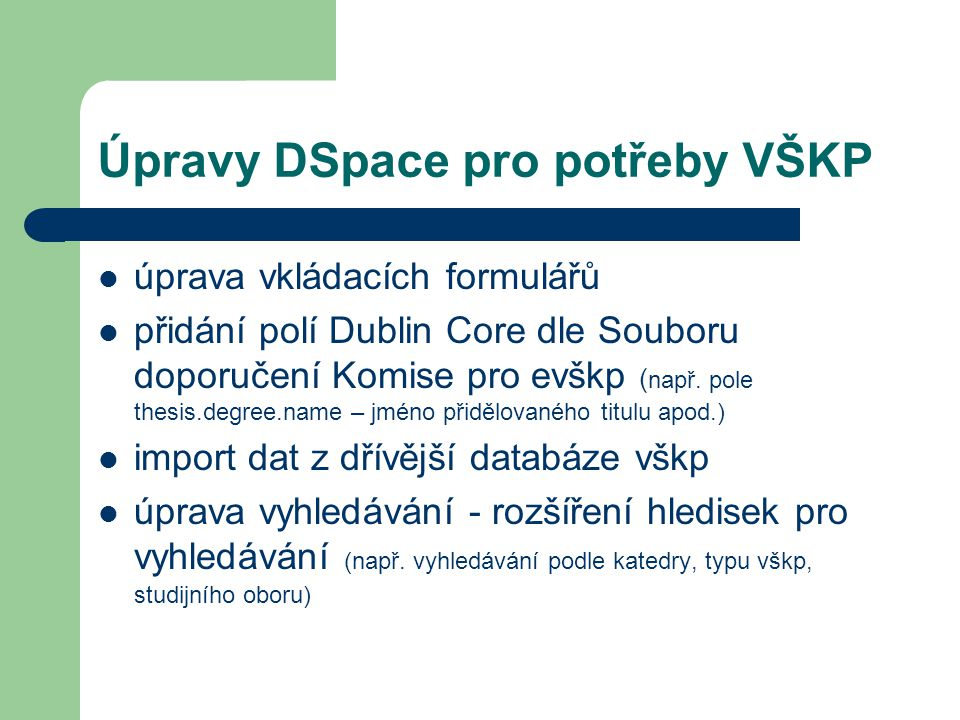 Úpravy DSpace pro potřeby VŠKP