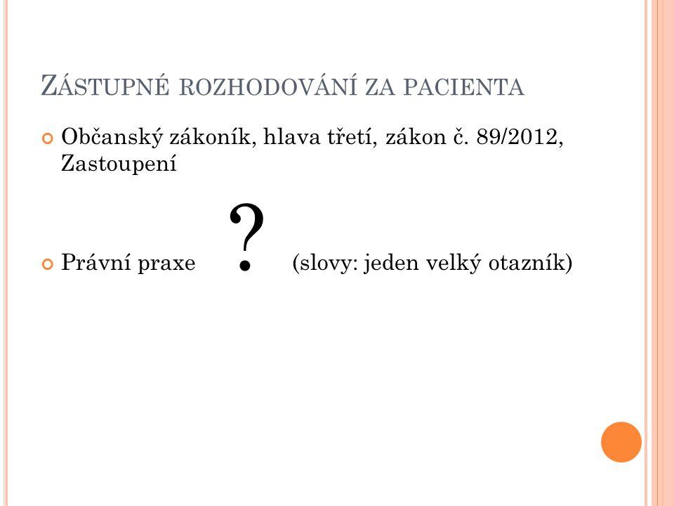 Zástupné rozhodování za pacienta