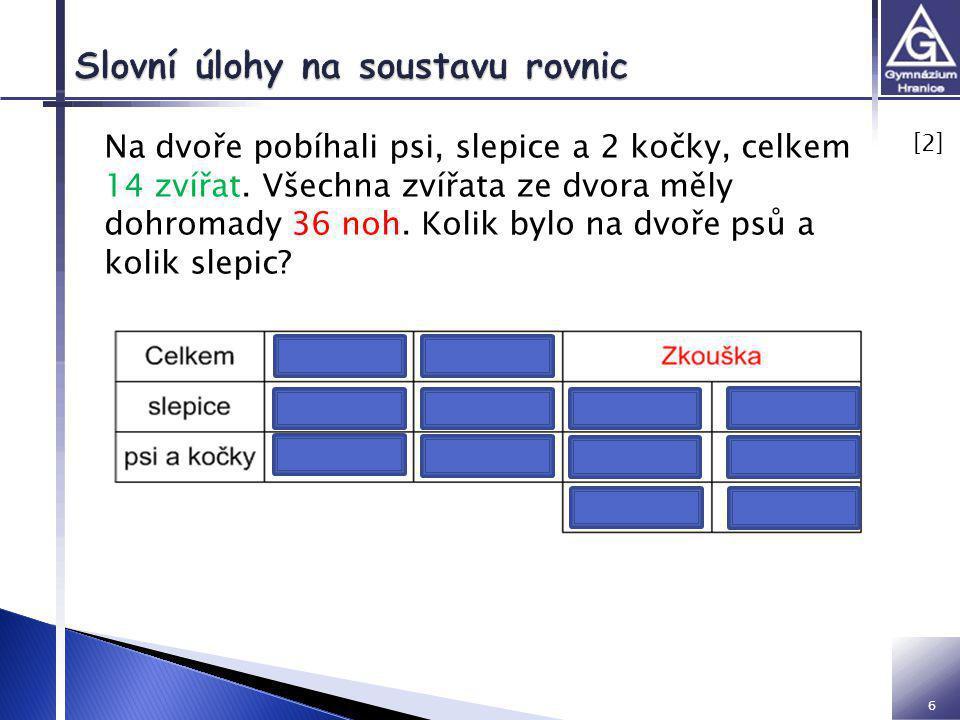 Slovní úlohy na soustavu rovnic