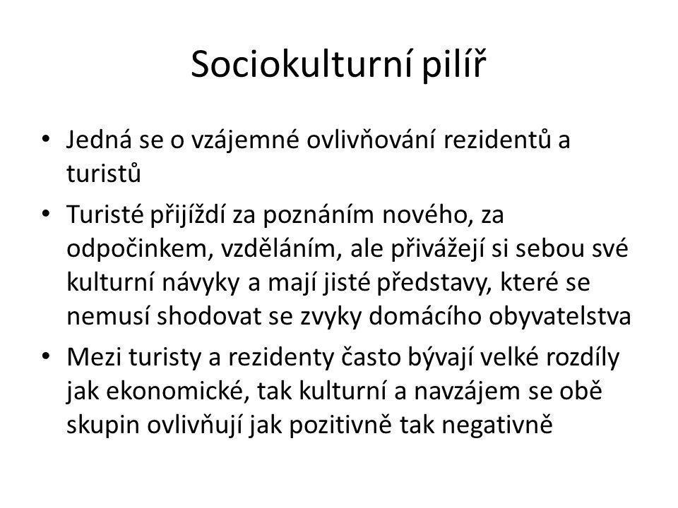 Sociokulturní pilíř Jedná se o vzájemné ovlivňování rezidentů a turistů.