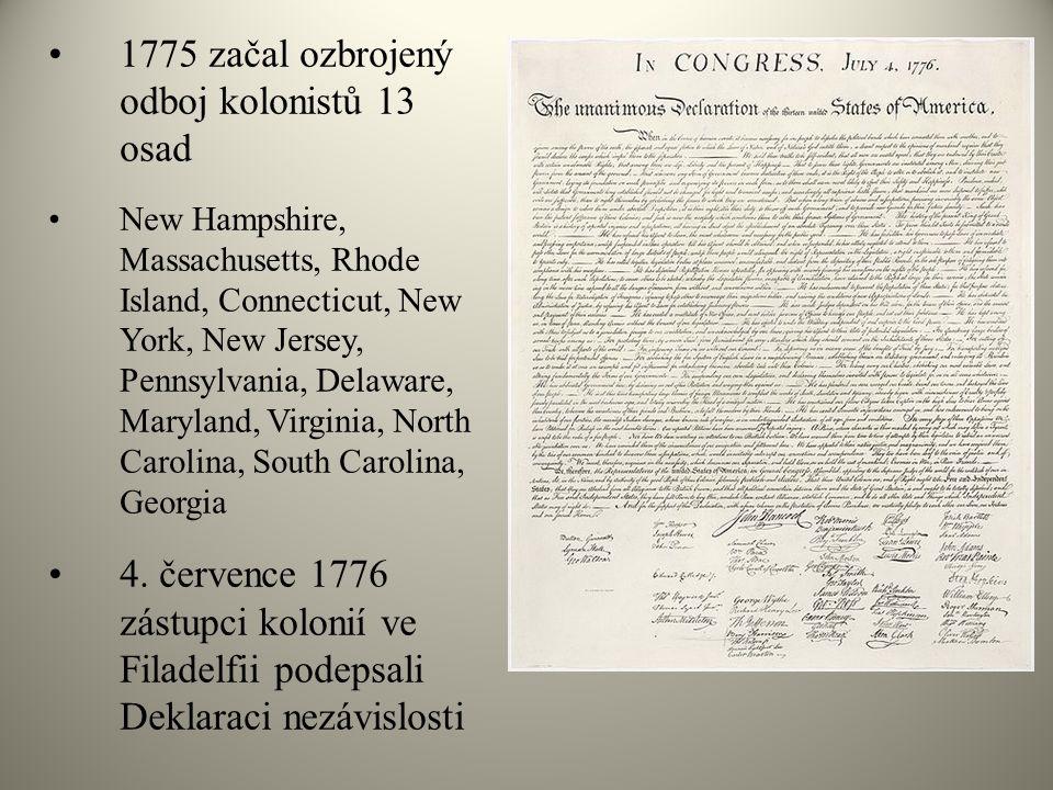 1775 začal ozbrojený odboj kolonistů 13 osad