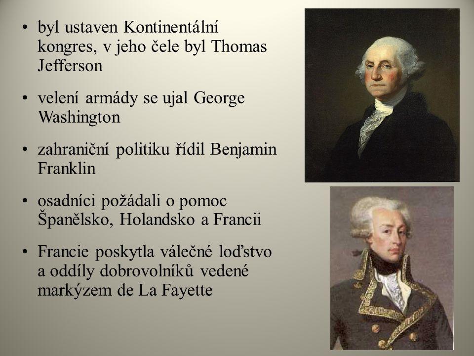 byl ustaven Kontinentální kongres, v jeho čele byl Thomas Jefferson