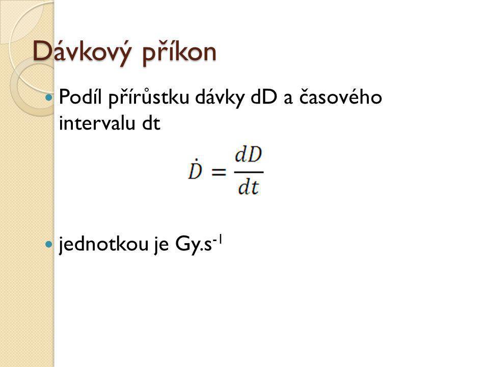 Dávkový příkon Podíl přírůstku dávky dD a časového intervalu dt