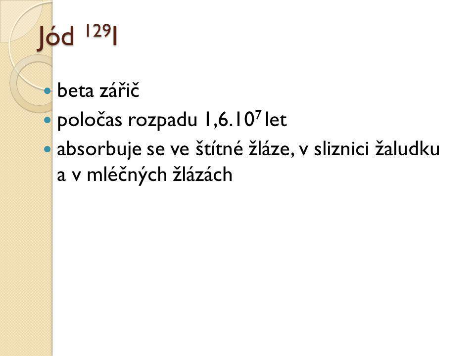 Jód 129I beta zářič poločas rozpadu 1,6.107 let