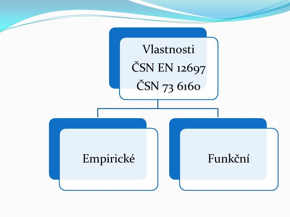 ČSN 73 6160 ČSN EN 12697 Vlastnosti Empirické Funkční