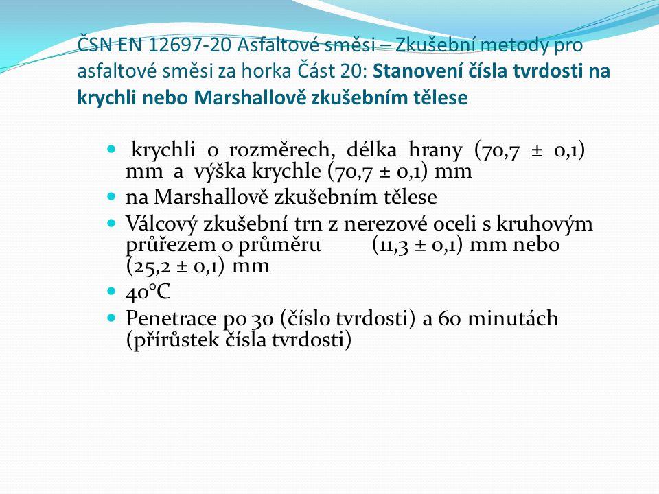 ČSN EN 12697-20 Asfaltové směsi – Zkušební metody pro asfaltové směsi za horka Část 20: Stanovení čísla tvrdosti na krychli nebo Marshallově zkušebním tělese