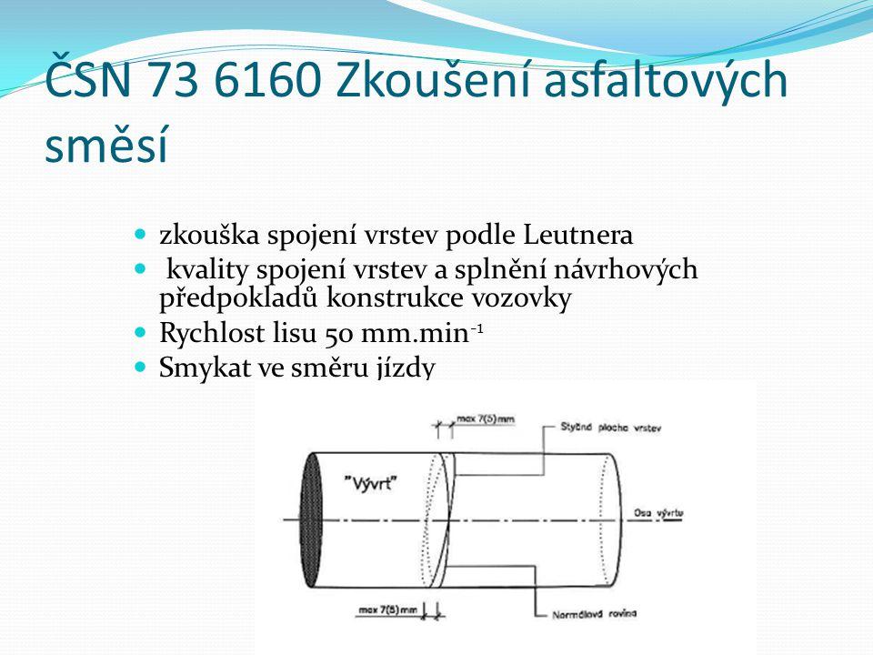 ČSN 73 6160 Zkoušení asfaltových směsí