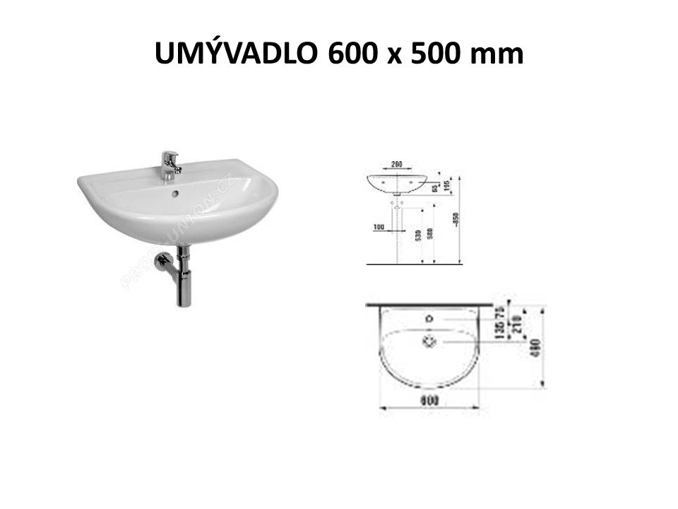 UMÝVADLO 600 x 500 mm