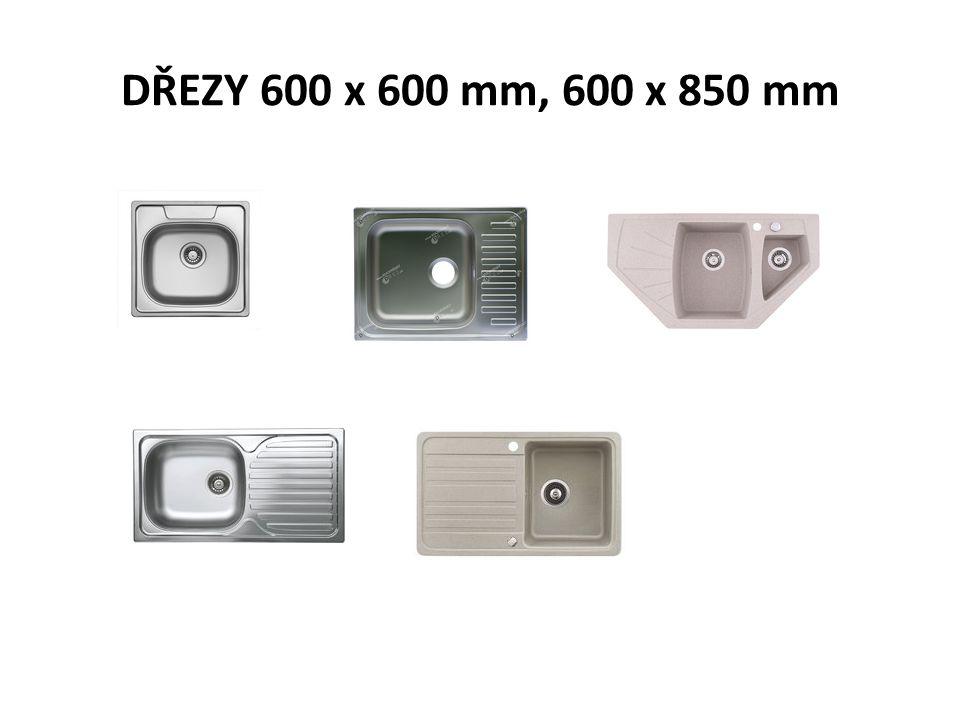 DŘEZY 600 x 600 mm, 600 x 850 mm