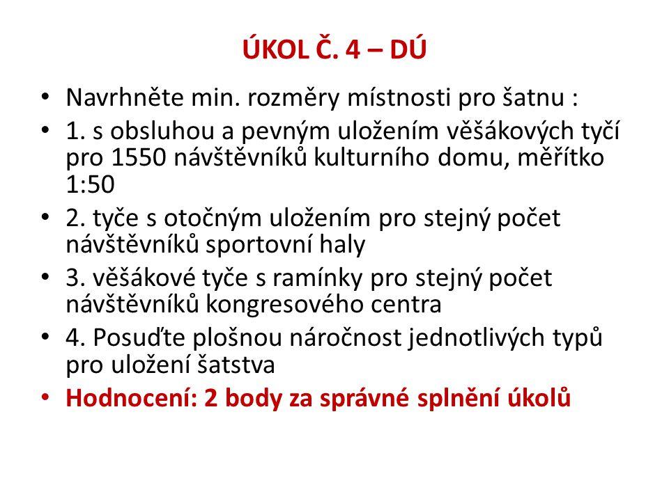 ÚKOL Č. 4 – DÚ Navrhněte min. rozměry místnosti pro šatnu :