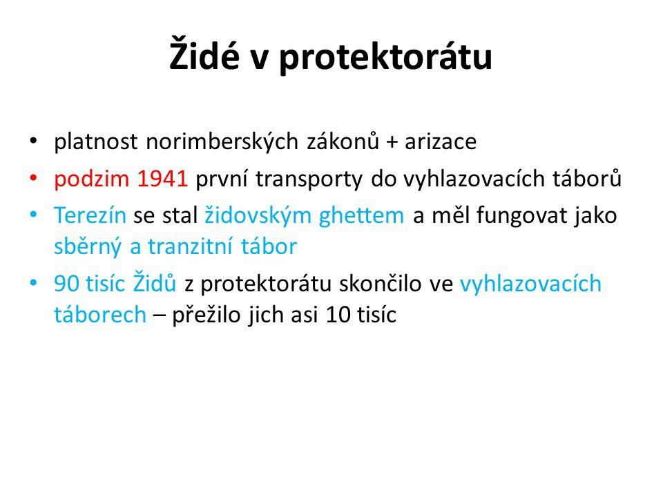 Židé v protektorátu platnost norimberských zákonů + arizace