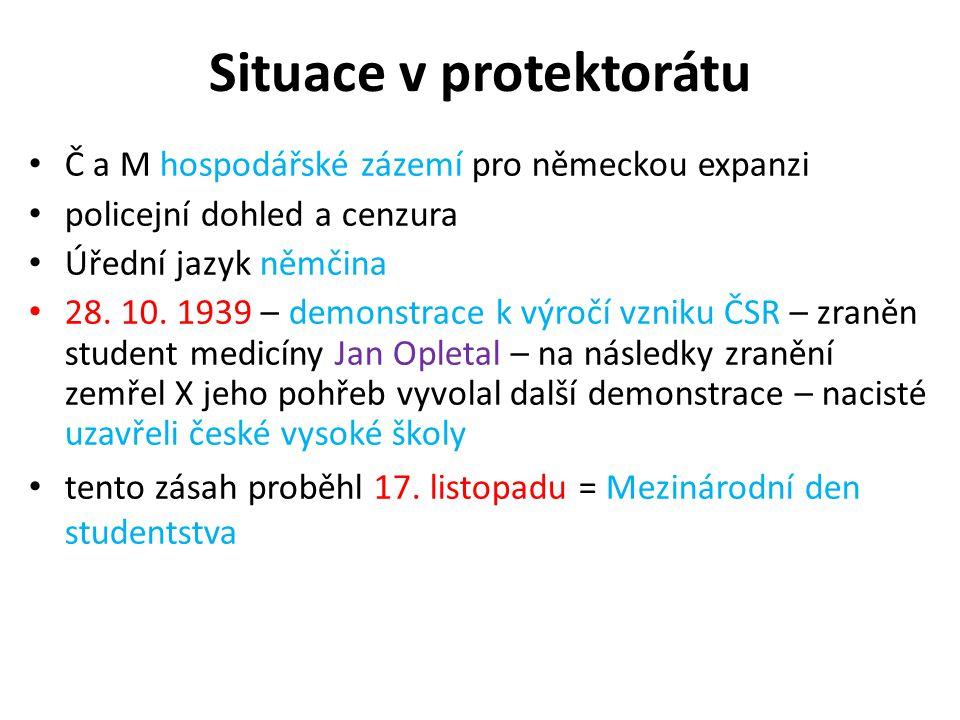 Situace v protektorátu