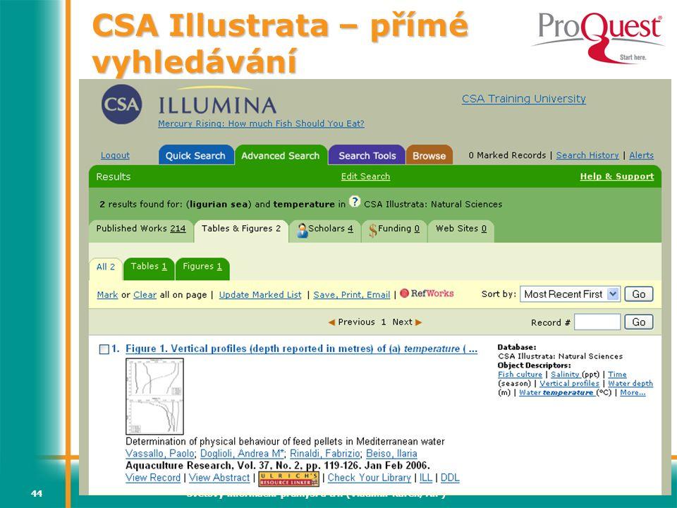 CSA Illustrata – přímé vyhledávání