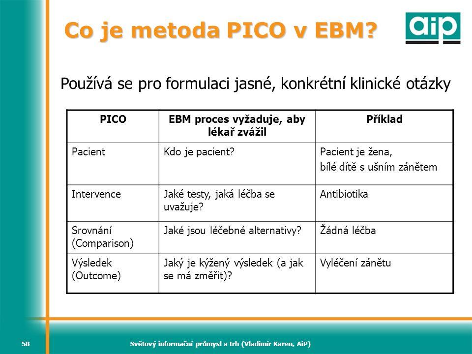Co je metoda PICO v EBM Používá se pro formulaci jasné, konkrétní klinické otázky. PICO. EBM proces vyžaduje, aby lékař zvážil.