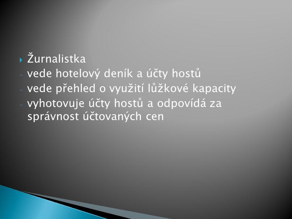 Žurnalistka vede hotelový deník a účty hostů. vede přehled o využití lůžkové kapacity.