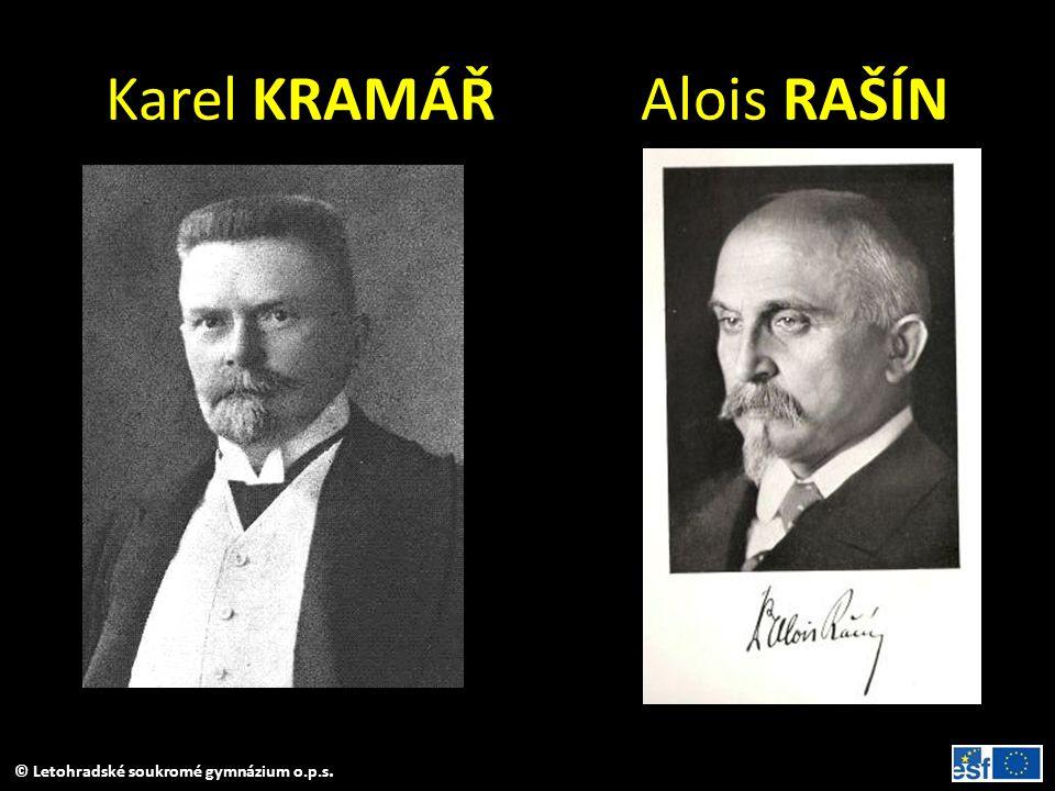 Karel KRAMÁŘ Alois RAŠÍN