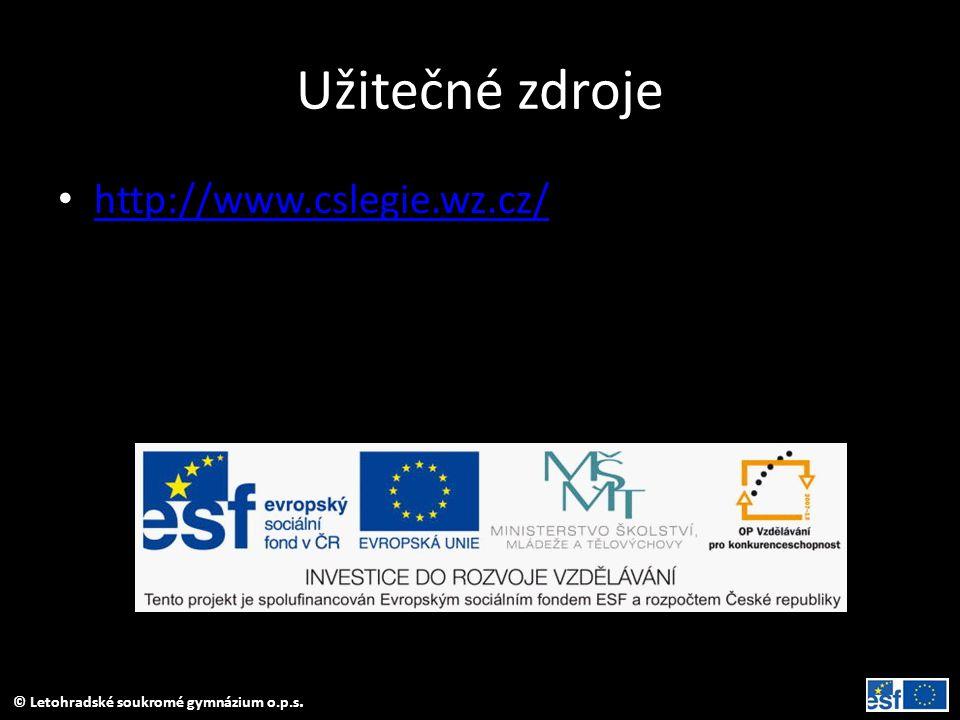 Užitečné zdroje http://www.cslegie.wz.cz/