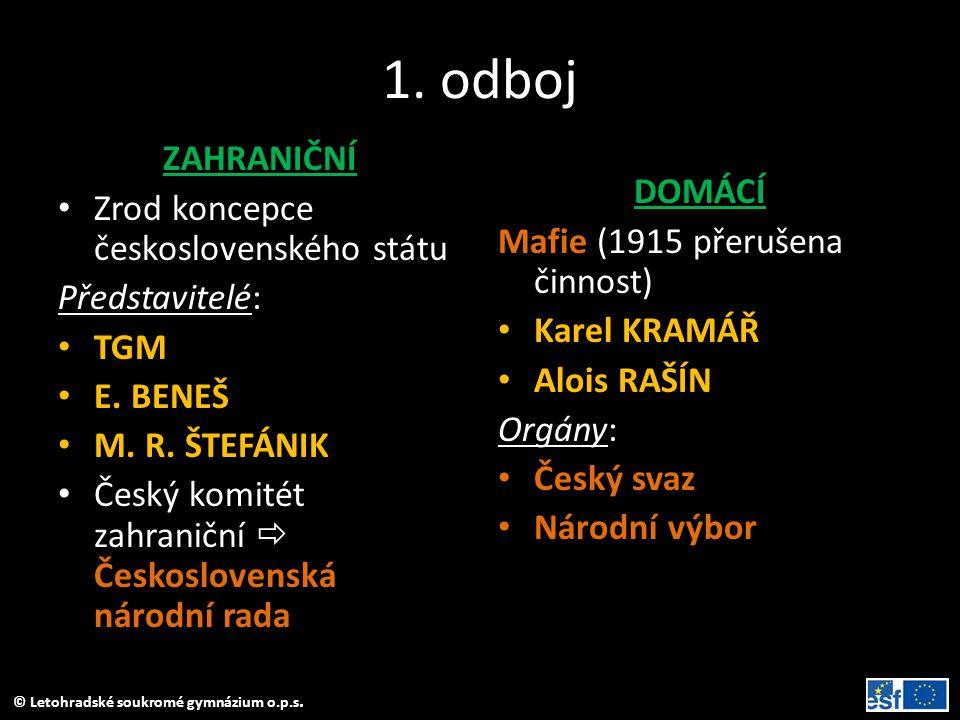 1. odboj ZAHRANIČNÍ Zrod koncepce československého státu DOMÁCÍ