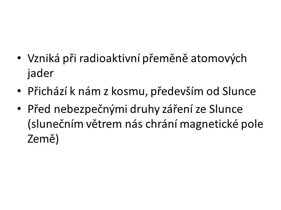 Vzniká při radioaktivní přeměně atomových jader