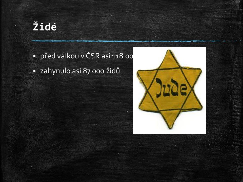 Židé před válkou v ČSR asi 118 000 Židů zahynulo asi 87 000 židů