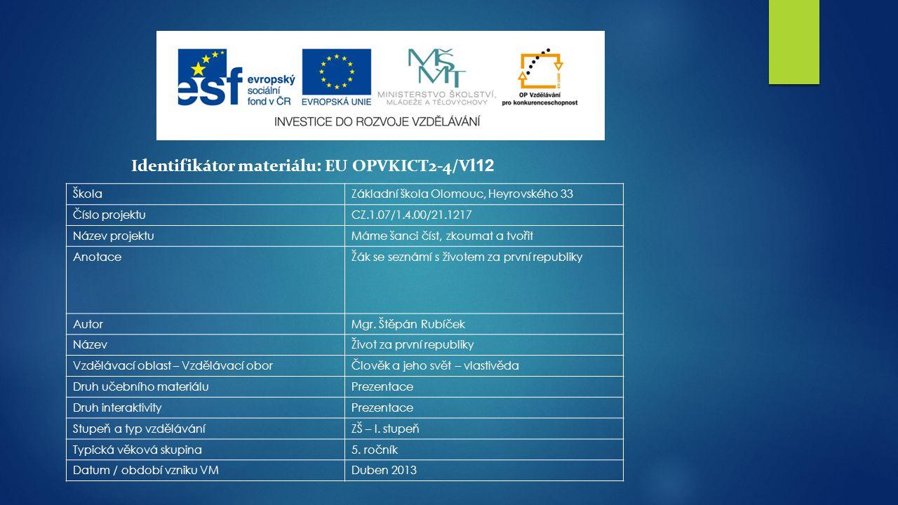 Identifikátor materiálu: EU OPVKICT2-4/Vl12