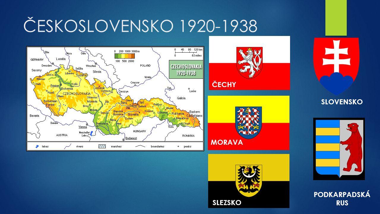 ČESKOSLOVENSKO 1920-1938 ČECHY SLOVENSKO MORAVA PODKARPADSKÁ RUS