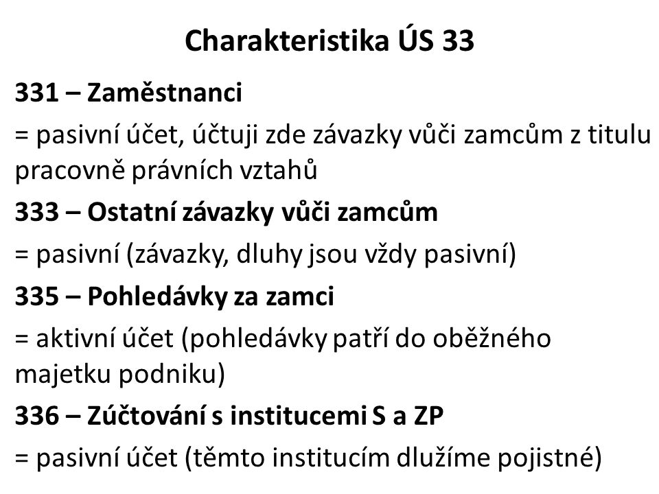 Charakteristika ÚS 33