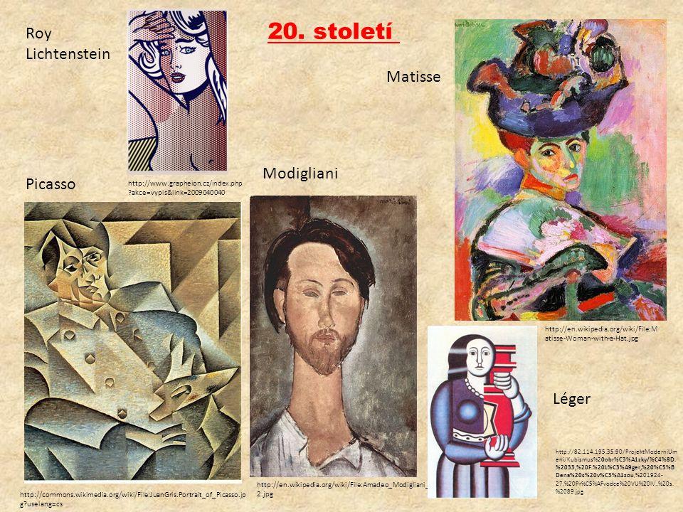 20. století Roy Lichtenstein Matisse Modigliani Picasso Léger