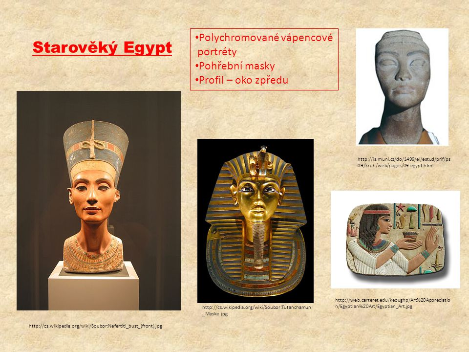 Starověký Egypt Polychromované vápencové portréty Pohřební masky